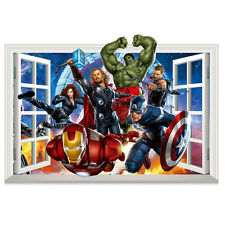 3D Crack Wall The Avengers Marvel Hulk Wall Stickers Room Decor Mural Decals Art