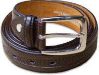 "New Mens Pattern Leather Brown Belt Sizes 32""-60"" 'Ossi' 30mm"