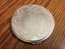 "Silver Plate Concord Victorian Compact Ladies Larger Size Approx. 4"" Dia. W/ Box"