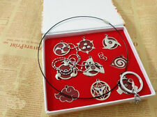 New Naruto Sharingan Konoha Cosplay Pendant Necklace Keychain 9pcs/set