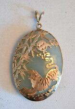 1920s Chinese 14K Gold and Jade Tiger Pendant