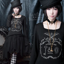 Lolita Vintage Harajuku Sweet Gothic JP Bat  Long Sleeve kera Slim Dress#645