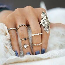 GOLD VINTAGE STYLE TIBETAN RETRO RING SET 6 PIECE RING SET BOHO CHIC RING SET