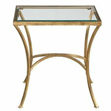 Minimalist Gold Arch End Table | Metal Glass Top Side Accent Modern Contemporary