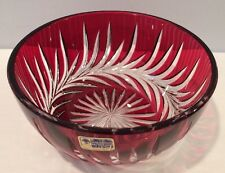 "VTG Lausitzer Glas Ruby Red Cased Crystal 7"" Bowl Cut To Clear Germany w Sticker"