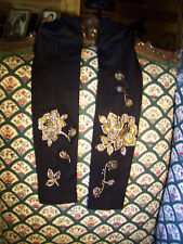 Plus Size Black Leggings Embellished With Gold & Crystal Clear Rhinestone Roses