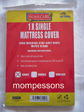 White Fitted Single Mattress Cover Protector wipe clean waterproof soft viny