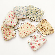 Fashion Women Multicolor Cotton Fabric Hasp Coin Bags Floral Printed Coin Purses