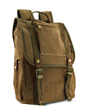 "Amik ""Little Italy"" Vintage Canvas & Leather Backpack - Khaki Tan"
