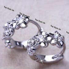 925 Sterling Silver Flower Stud Hoop Round Crystal Earrings CZ Gift for her Wife