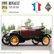RENAULT TYPE AM 1908 1905 1914 CAR VOITURE FRANCE CARTE CARD FICHE