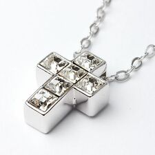Austrian Crystal Cross Necklace Chain Pendant Rhodium Plated From UK Gift Box