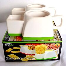 New 2 Fine Life Soup & Cracker Ceramic Mugs Cup Bowl Pasta Appetizer Dip Dishes