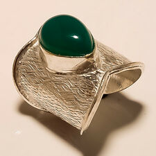 LOVELY 925 SILVER PLATED GREEN ONYX LOVELY STYLISH BIG ADJUSTABLE RING D04041
