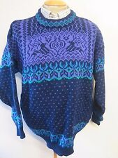 Traditional Vintage DALE Nordic Norwegian Pattern Crew Neck Jumper XL 46-48""