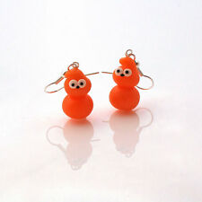 earrings zingy edf drop earrings handmade cute flame orange blob man