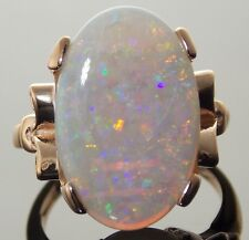 14K ROSE/PINK GOLD VINTAGE 1950's  NATURAL FIRE OPAL SOLITAIRE RING SIZE 6.5