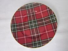222 FIFTH WEXFORD PLAID TARTAN CHRISTMAS RED GOLD SALAD PLATES SET OF 3 NEW