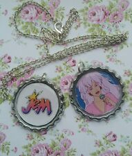 Jem and The Holograms Necklace 2 Bottle Top Pendants Changeable. Retro Gift 80s