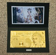QUEENS 65th SAPPHIRE JUBILEE - PURE 24K GOLD *£5* 9.999 PROOF Banknote/Bill*RARE
