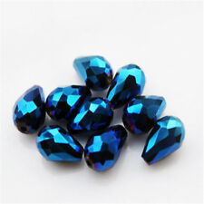 20PCS Teardrop Shape Tear Drop Glass Faceted Loose Crystal Beads Plated blue@