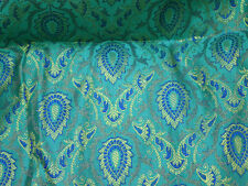 Brocade Fabric Turquoise Blue jacquard fabric Art silk fabric