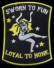 Motorcycle Retro patch badge Sworn to fun loyal to none Hot Rod tattoo pinup