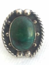 Vintage Sterling Silver Southwest Tribal Ring Turquoise Size  8.5  6.1g