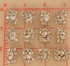 "12 vintage Czech rhinestone buttons glass oval jewel center 3/4"" x 5/8 18mm 298"