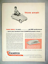 Plastic Sheeting For Toys PRINT AD - 1962 ~~ Campco Plastics Co., toy pedal car