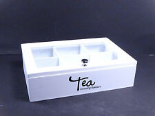 Shabby Chic Wooden Tea / Storage White Box With TEA Word And Glazed Lid #1