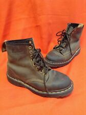Dr. Doc Marten's 8 Eyelet Lace Up Air Wair Brown Leather Unisex Boots Sz M6 W8