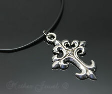 Large Flared Cross Silver Plated Black Rubber Chain Mens Womens Necklace