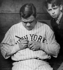 BABE RUTH YANKEES signs a baseball for a young fan awesome 8x10 of babe