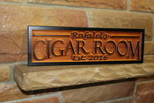 Personalized Cigar Bar Sign Smoking Room Custom Carved Wood Sign Rustic Plaque