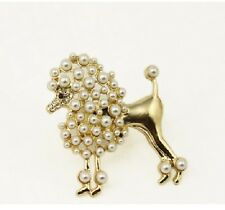 R256 BETSEY JOHNSON Poodle Puppy Dog Pet w/ Pearl Gem Gold Ring US