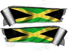 Pair of Rolled Back Ripped torn Metal Effect Jamaica Flag Vinyl Car Stickers