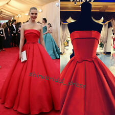 Strapless Red Carpet Prom Formal Ball Quinceanera Dresses Satin Wedding Gowns