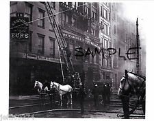 FDNY @ FIRE ON 8th STREET MANHATTAN NYC Greenwich Vlg VINTAGE PHOTO 1898 FreeShp