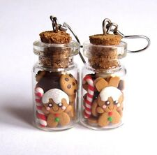 Glass Jars Funny Gingerbread Man Cookies Kawaii Girls Gifts Earrings Jewelry