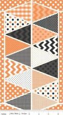 "Riley Blake Holiday Banners P560 Orange  24"" Panel  - Cotton Fabric FREE US SHIP"