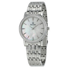 Bulova Classy Diamond Bezel Stainless Steel Mens Watch 96E110