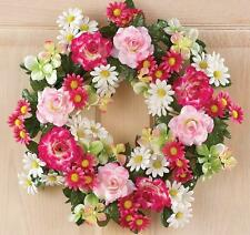 "White & Pink Daisy & Rose Spring Floral Door Wreath w/ Lush Dark Greenery 16""Dia"