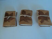 Gold Leaf Leather Embossed Mini Notebook / Journal ~ Set of 3~ FAST FREE SHIP