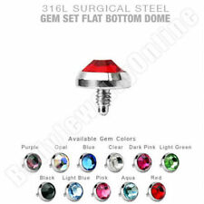 Dermal Anchor Top  lot of 11 pcs 5mm mix colors Flat CZ  Surgical Steel