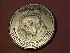 world endangered species - Timber wolf coin