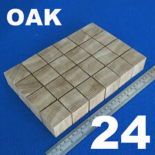 "LOT x 24 CUBES 1.6"" / 40 mm WOODEN BLOCKS BUNDLE SET OAK WOOD NATURAL ECO BRICKS"