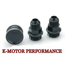 BLACK REAR BLOCK BREATHER FITTINGS AND PLUG FOR B16 B18C CATCH CAN M28 TO 10AN