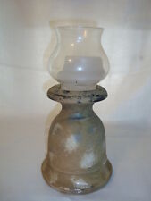 French terracotta candle holder base made of terracotta and glass, h-12.25
