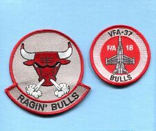 VFA-37 BULLS RETRO US NAVY BOEING F-18 HORNET Fighter Squadron Jacket Patch Set